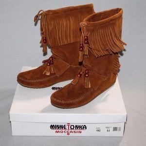 Minnetonka High Top Women's Fringe Boot Brown